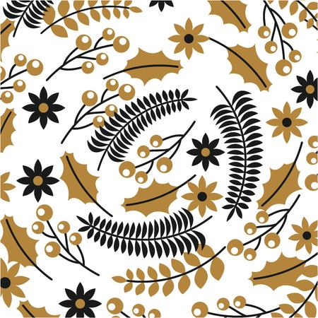 golden and black branch holly berry poinsettia christmas decoration pattern vector illustration