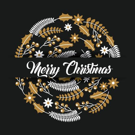 merry christmas lettering decoration card design vector illustration Stock fotó - 85660833