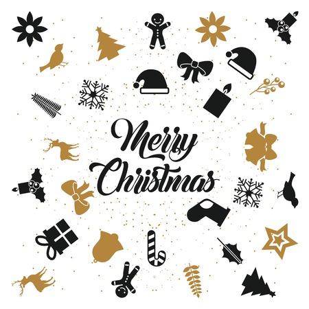 メリークリスマスレタリングデコレーションカードデザインベクトルイラスト