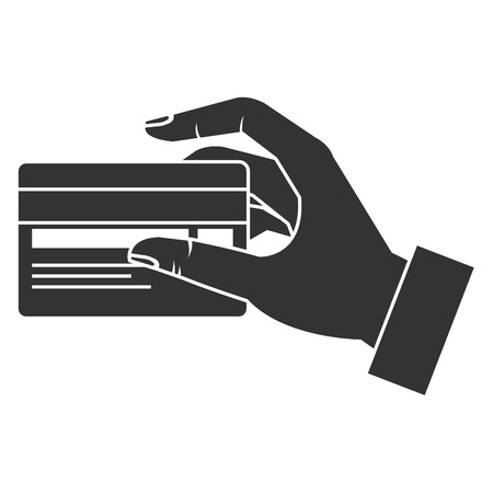 hand human with credit card isolated icon vector illustration design