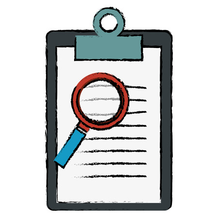 questions: clipboard document with magnifying glass vector illustration design