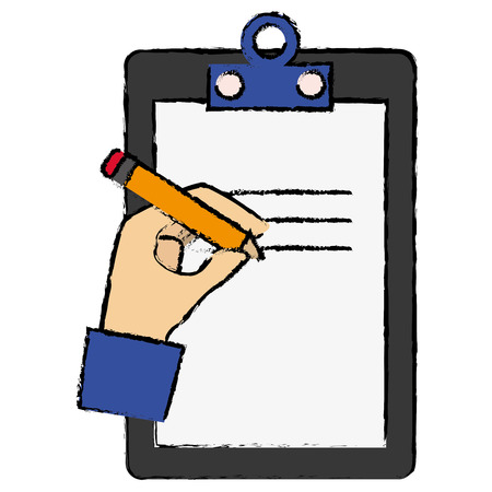 clipboard document with hand writing vector illustration design
