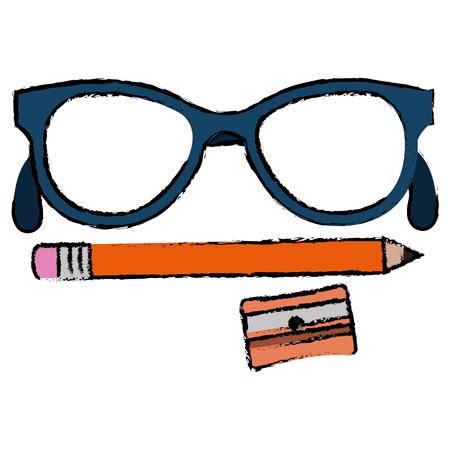 Spitzer Schule mit Bleistift und Brille Vektor-Illustration-Design Standard-Bild - 85687841