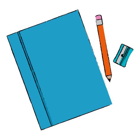 handboekschool met potlood en slijper vectorillustratieontwerp Stock Illustratie