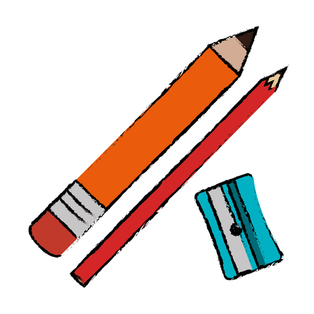 鉛筆ボックスパッキングアイコンベクトルイラストデザイン