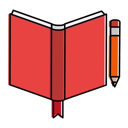 handboekschool met ontwerp van de potlood het vectorillustratie Stock Illustratie