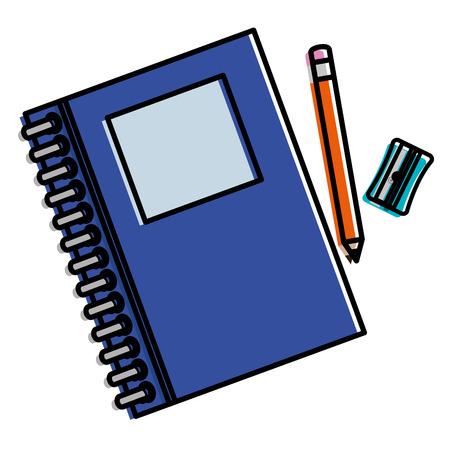 Lehrbuchschule mit Bleistift und Bleistiftspitzer vector Illustrationsdesign Standard-Bild - 85690758