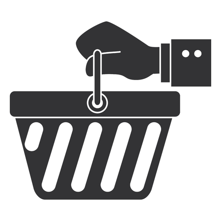hand human with shopping basket isolated icon vector illustration design Illustration