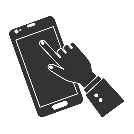 mobile device: hand human with smartphone device isolated icon vector illustration design