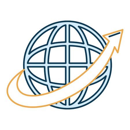 planet with arrow icon vector illustration design Иллюстрация