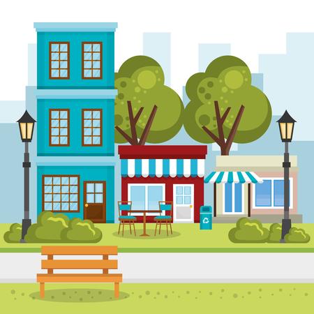 store building with cityscape scene vector illustration design
