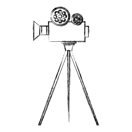 film video camera with tripod vector illustration design