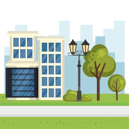 buildings with cityscape scene vector illustration design Illustration