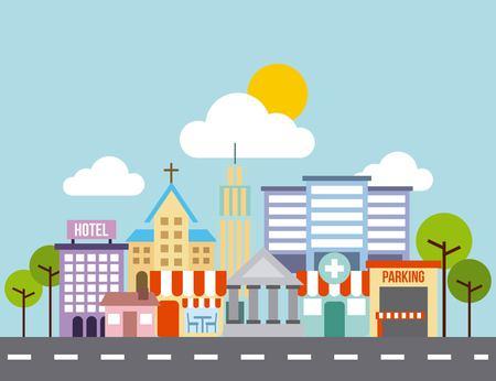 city background: city buildings road urban street landscape vector illustration Illustration