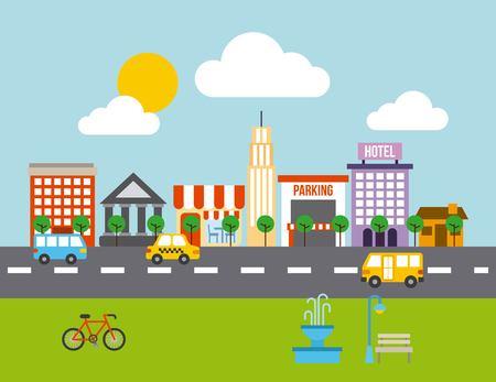 city buildings road urban street landscape vector illustration Illustration