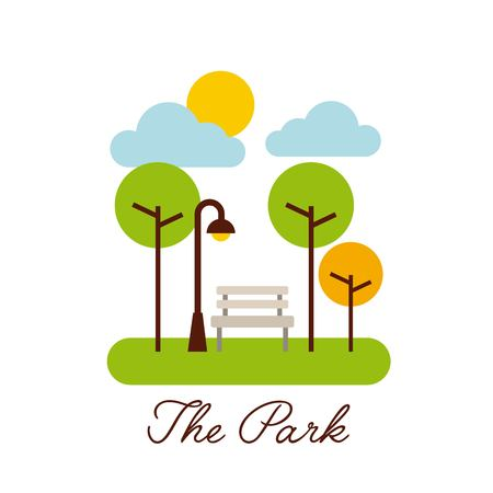 the park landscape nature tree cloud vector illustration