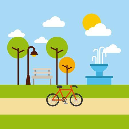 the park landscape nature tree bicycle vector illustration Иллюстрация