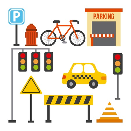 set of traffic transport sign taxi barrier light cone vector illustration