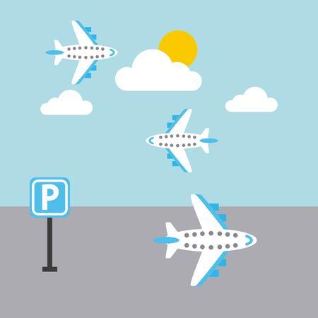 luchthaven vliegtuig vliegen hemel zon wolk parkeren teken vector illustratie Stock Illustratie