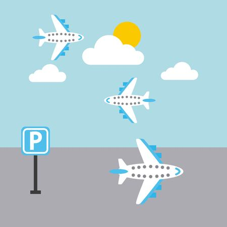 airport plane flying sky sun cloud parking sign vector illustration