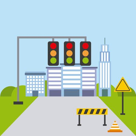 street urban city building structure traffic vector illustration Illustration