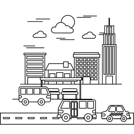 거리 도시의 도시 건물 구조 트래픽 벡터 일러스트 레이션