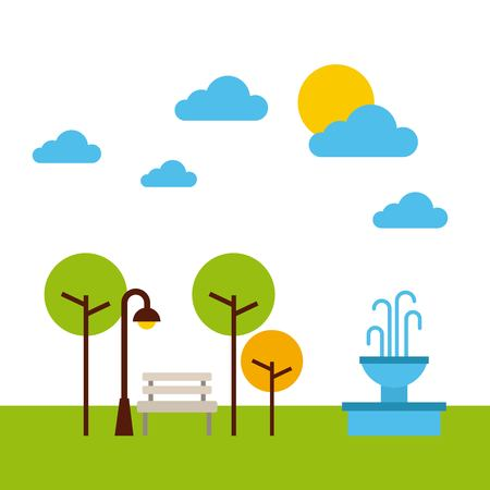 공원 풍경 자연 트리 구름 벡터 일러스트 레이 션 스톡 콘텐츠 - 85726206
