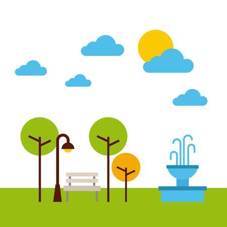 the park landscape nature tree cloud vector illustration