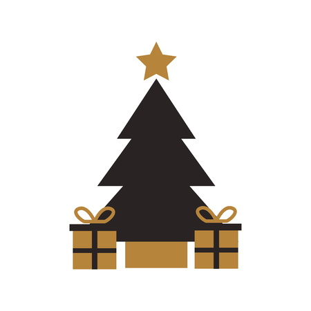 gold and black tree pine gift boxes star christmas decoration vector illustration