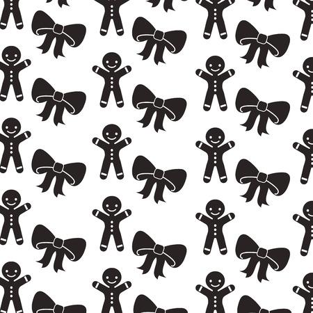 christmas gingerman and ribbon decoration celebration seamless pattern vector illustration