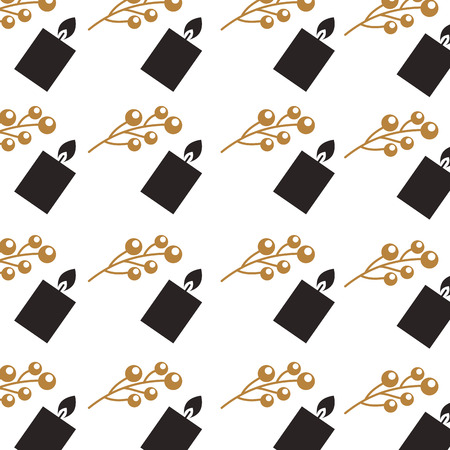 christmas candle and holly berry decoration celebration seamless pattern vector illustration