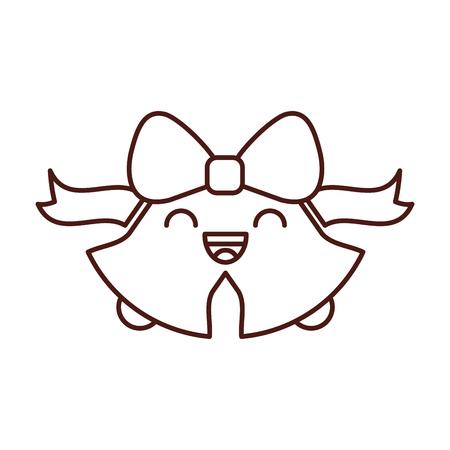 kawaii christmas bell ribbon bow decoration ornament vector illustration Illustration