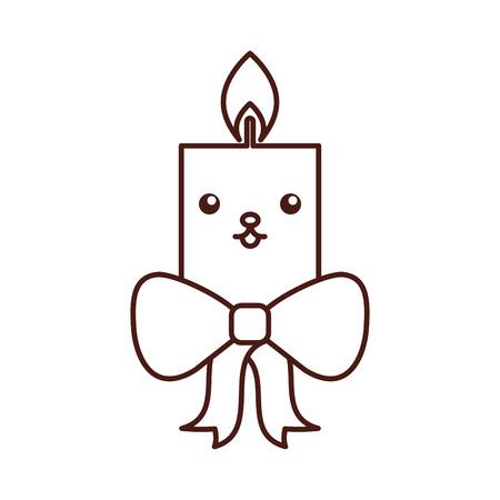 kawaii candle christmas flower decoration festive vector illustration
