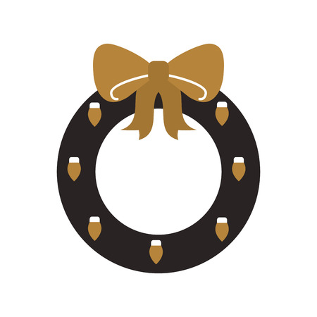 golden and black christmas wreath with ball bow vector illustration Illustration