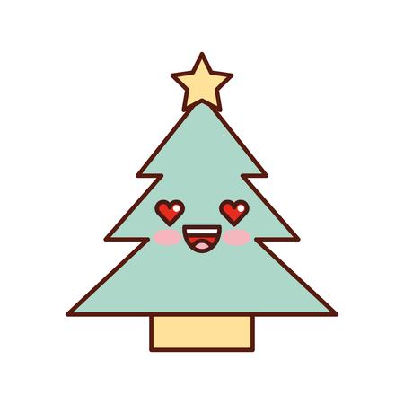 kawaii tree pine star decoration cartoon vector illustration