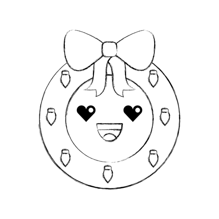 Christmas wreath with ball and bow vector illustration Illustration
