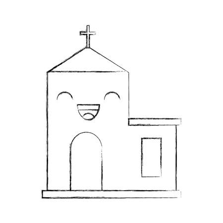 kawaii church building cartoon christmas celebration vector illustration Иллюстрация