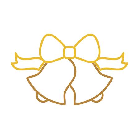 kawaii christmas bell ribbon bow decoration ornament vector illustration Ilustracja