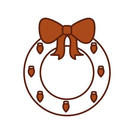 christmas wreath with ball bow decoration festive vector illustration 向量圖像