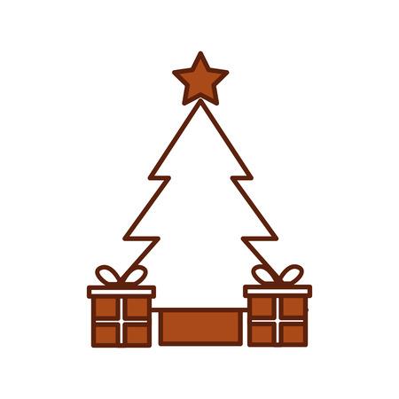 boom pine geschenkdozen ster kerst decoratie vector illustratie