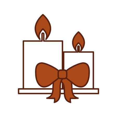 Dos velas encendidas celebración de navidad cinta ilustración vectorial Foto de archivo - 85808757