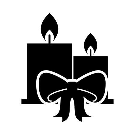 Dos velas ardiendo ilustración de vector de celebración de cinta de Navidad Foto de archivo - 85849106