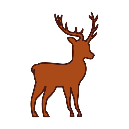 christmas deer animal horned decoration vector illustration