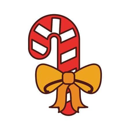 christmas cane candy sweet ribbon decoration vector illustration Illustration