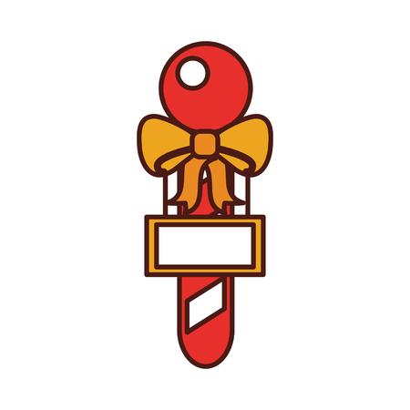 christmas stick with board ribbon decoration vector illustration Illustration