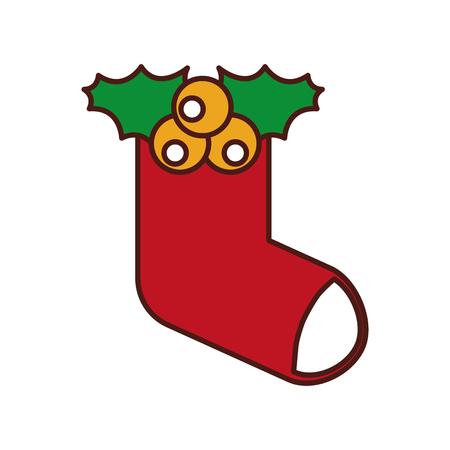 Weihnachtssockengeschenk-Dekorationsvektorillustration Standard-Bild - 85808781