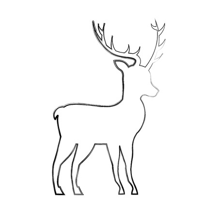 christmas deer animal horned decoration vector illustration