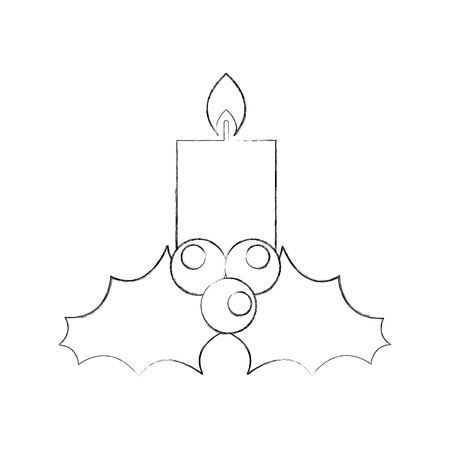 candle christmas flower decoration festive vector illustration Ilustrace