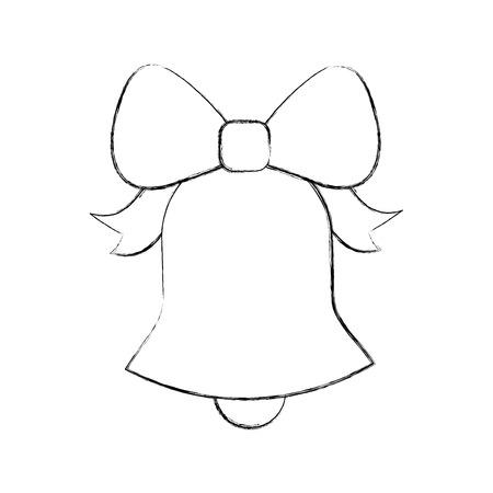 christmas bell ribbon bow decoration ornament vector illustration