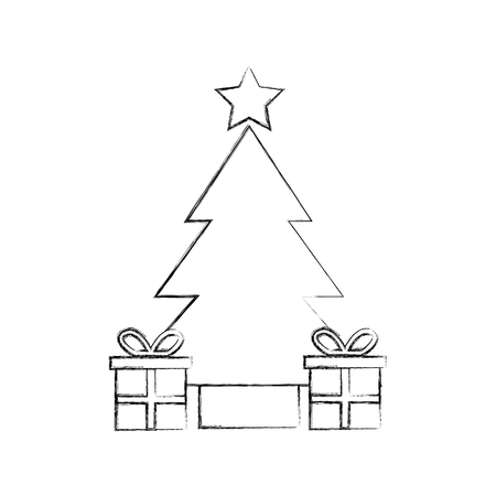 tree pine gift boxes star christmas decoration vector illustration